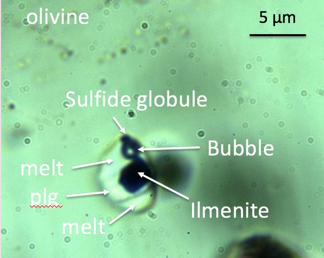 microfotografia di inclusione vetrosa in olivina